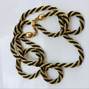 Trifari 14k yellow gold black rope chain necklace